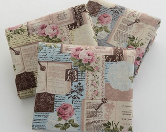 Vintage Rose Fabric, Khaki Blue Linen Cotton Fabric With Vintage Rose Butterfly Lace Book - 1/2 Yard