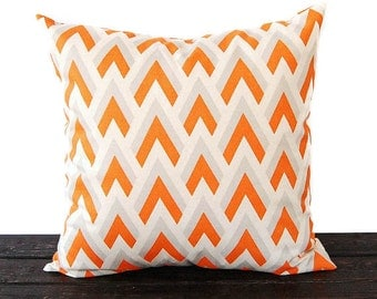 Chevron pillow cover One cushion cover orange gray natural throw pillow covers modern decor