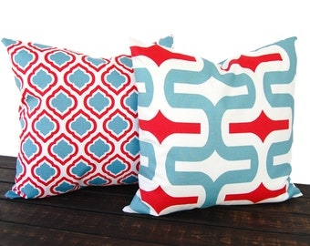 Dusty Blue and red pillow covers pair cushion covers blue ivory cushion covers pillow cases