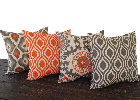 Etsy Throw Pillow Sets : Throw pillow covers 20 x 20 Set Of Four orange