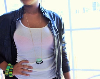 Gold Chain Acrylic Beaded Pendant Necklace