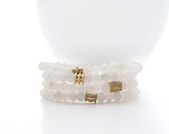 Matte White Agate Gemstone Gold Brass Stackable Beaded Bracelets