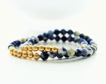 Two Aventurine Gemstones Gold Beaded Stackable Bracelets
