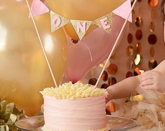 First Birthday Cake Banner: pink and gold glitter