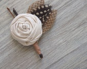 Rustic Country Feather & Burlap Wedding Boutonnieres / Custom Made