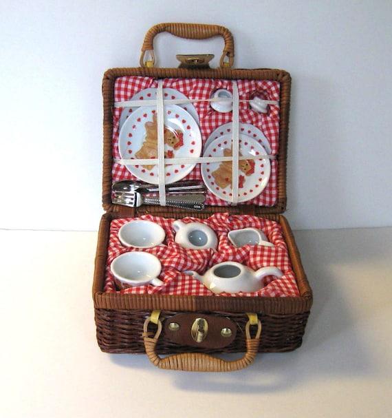 Toy Picnic Basket : Miniature teddy bear tea set vintage wicker picnic basket