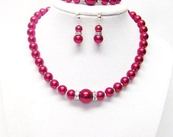 """14.5"""" Red Glass Pearl Necklace/Bracelet & Earrings Set for Little Girl"""
