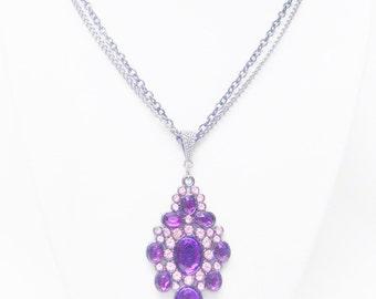 Purple Rhinestones on Gum Metal Pendant Necklace