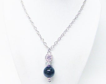 Black w/Green Swirl Ceramic Bead & Crystal Rhinestone Pendant Necklace