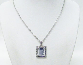 Small Silver Plated Square Photo Frame Charm Necklaces