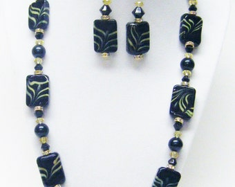 Black & Yellow Rectangle Glass Bead Necklace and Earrings Set