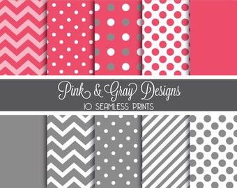 Gray and Pink Digital Paper Set - 10 Seamless Patterns - Instant Download