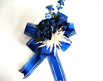 Gift for Father's Day/ Navy and white gift bow/ Gift bow for men/ Male special occasion bow/ Male birthday bow/ Bow for presents (FD12)