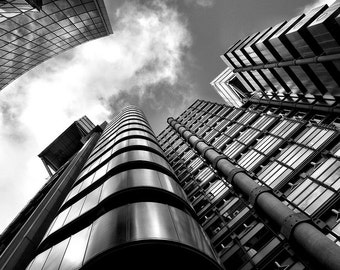 Lloyds Building, London. Black and white architecture photography print.