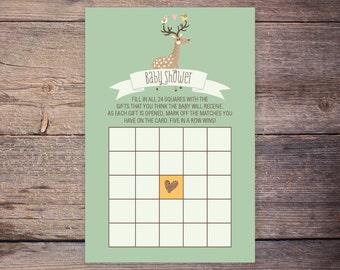 Bingo Card, Baby Shower Bingo,  INSTANT DOWNLOAD, Woodland, Deer Gender Neutral DiY Printable Shower Game Card