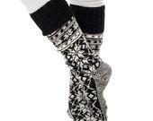 Norwegian Selbu Socks handknit Warm Socks Long Socks Winter Socks Boot Socks Woollen Socks Merino Socks