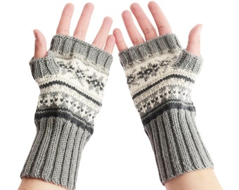 Hand-knit Arm Warmers from pure Merino Yarn Handmade Arm Warmers Texting Gloves Winter Gloves Fingerless Gloves