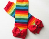Leg Warmers Rainbow Stripes, Baby Toddler Leg Warmers, Rainbow Flower