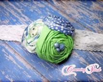 Mint, Periwinkle Flower Headband, Cornflower Blue, Light Green, Hair Clip, Hair Accessory, Fabric Flower Brooch, Hair Piece, Lime Green