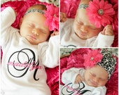 Monogram Newborn Baby Girl Coming Home Outfit Gown or Bodysuit Damask Pink Personalized Layette Headband Beanie Hat Option New Baby Gift Set