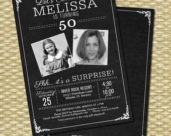 50th Birthday Invitation - Chalkboard Photo -  Milestone Birthday - Any Event - Any Colors, 21st, 30th, 40th, 50th, 60th, 70th, 80th,