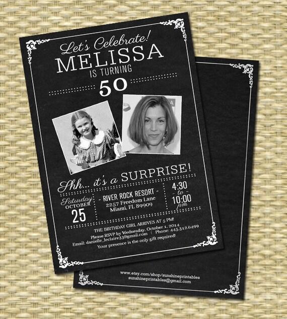 50th Birthday Invitation Chalkboard Photo Milestone