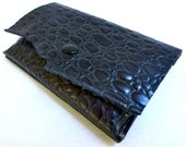 Little black leather wallet, embossed leather coin purse wallet, bare essentials wallet