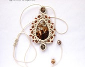 """Macrame pendant """"Drop"""" with agate cabochon, brown beaded necklace wor women and girls"""