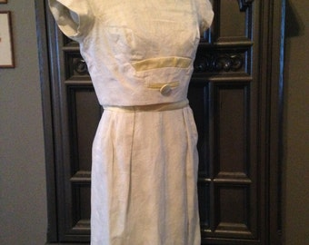 60s Nicholas Ungar Wiggle Fit Summer Day Dress with Yellow Satin Details