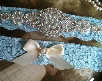 SALE-Wedding Garter-Garters-Stretch lace-aqua-blue-garter-Garter-Rhinestone-Pearl garter-Keepsake-ivory-Lace Garter-bridal garter-ivory