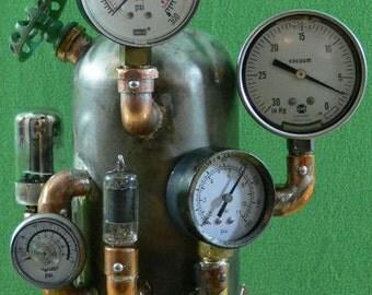 Steampunk'd, Victorian, Gauges, Edison, Copper, Brass, Lamp, Gears, Art, Rivets, MasterGreig - MG-342