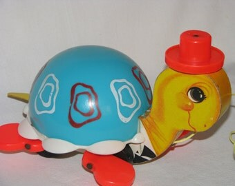 Vintage Fisher Price Pull Toy Turtle Circa 1962 # 773 Made in USA