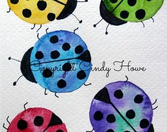 Digital art, digital download, ladybugs, ladybug, lady bug, bugs