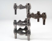 "Set of 4 Mid Century modular ""Brutalist"" candle holders"