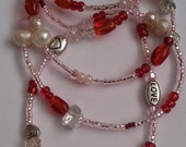 Valentine Love Pink and Red Gemstone Waist Beads with Rose Quartz Love Stone