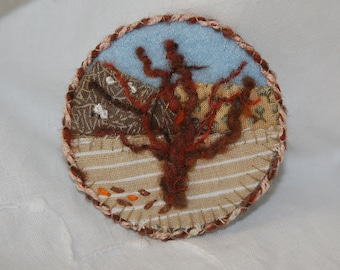 Embroidered Applique Brooch - Hill-side Tree hand stitched by Lynwoodcrafts