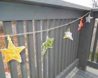 Primitive Star Garland, 30 feet long, handmade, modern colors