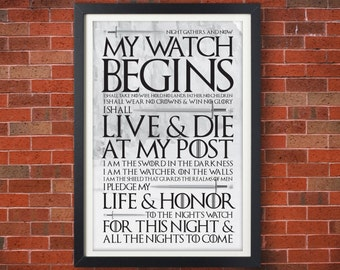 PREMIERE SALE!!! 25% OFF!!! Game of Thrones Night's Watch Oath Poster - Jon Snow - Typographic Poster