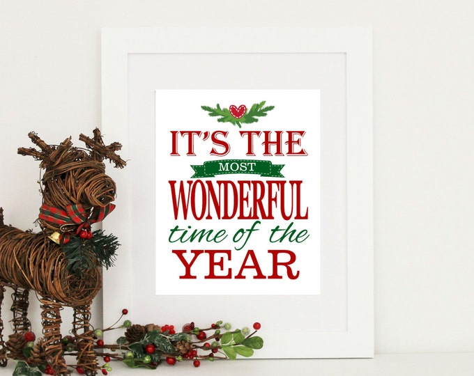 Christmas Decor The Most Wonderful Time of the Year  - Instant Download 8x10
