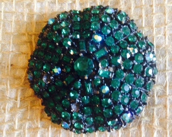 Vintage 60's Green Rhinestone Brooch