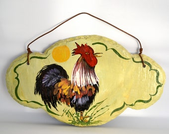 Rooster Slate Hand-Painted Wall Hanging