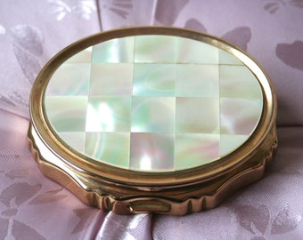 FREE SHIPPING  KIGU Musical Vintage Concerto Powder Compact with Mother of Pearl Lid Birthday Gift Bridesmaid Gift