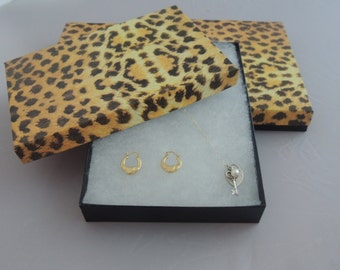 "18 Pack of Large Leopard Cotton Filled Jewelry Presentation Gift Boxes, Display Boxes size 7 1/8"" x 5 1/8"" x1 1/8"" tall"