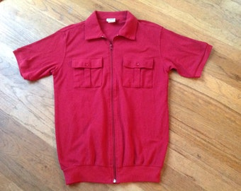 Red Knit Zippered Polo Shirt, Banded, Small