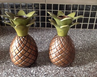 Brass Pineapple Candle Holders