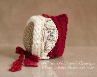 Newborn Girls Hat. Baby Girls Hat. Newborn Girls Bonnet. Baby Girls Bonnet. Red & Ivory Pixie hat. Newborn Girls Photography Prop. UK SELLER