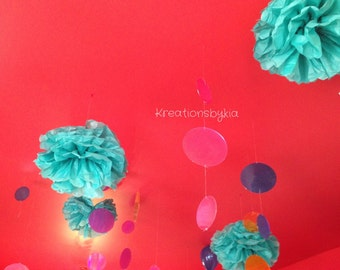 "Tissue Paper Pom Poms - 5 Medium (12"") /Birthday/Wedding/Baby Shower/Bridal Shower/nursery"