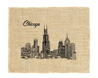 Chicago Skyline Unframed, Burlap Print, Illinois, Chicago Print, Burlap Art, Burlap Decor