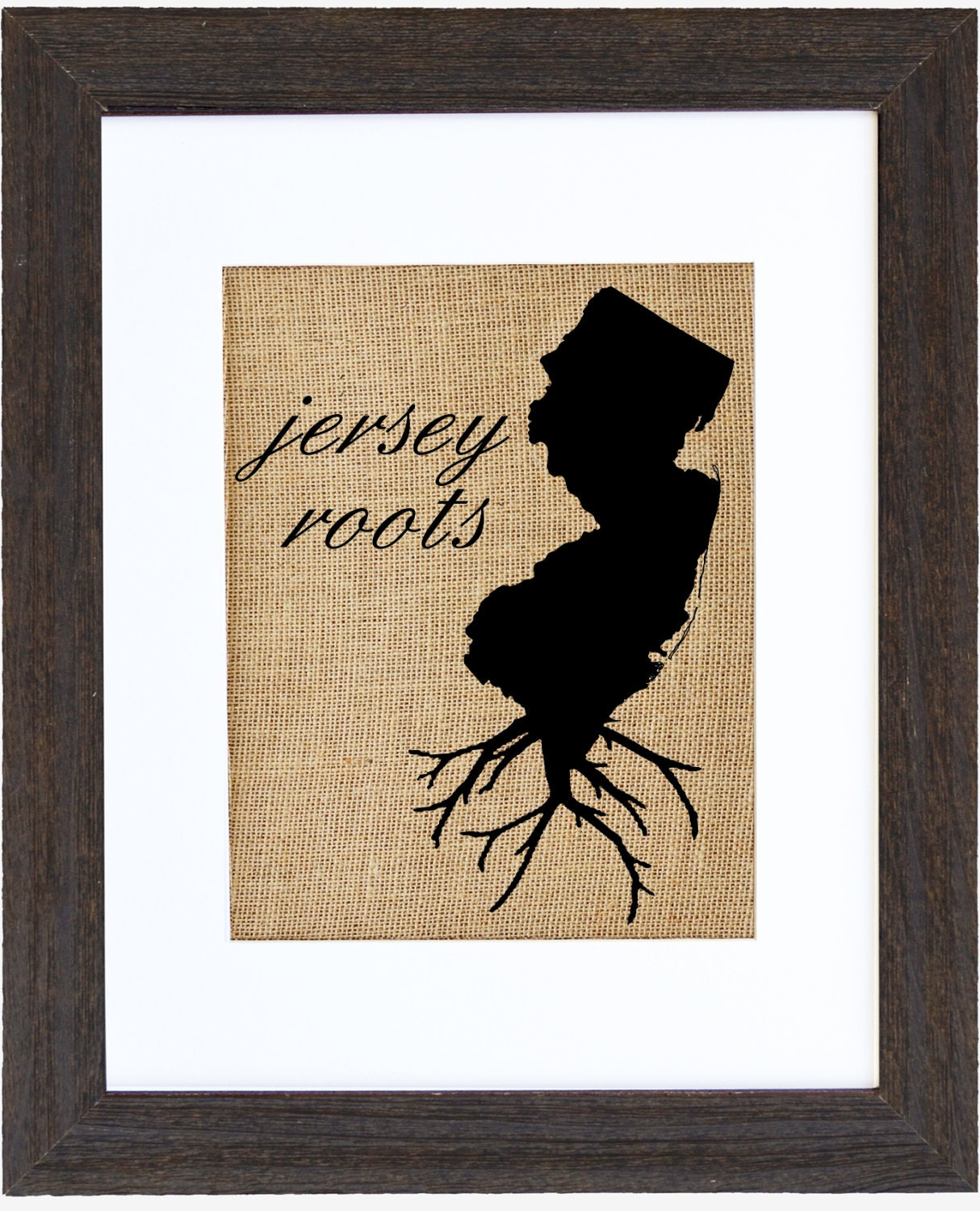 New Jersey Roots Wall Art Jersey Print Burlap Art Custom