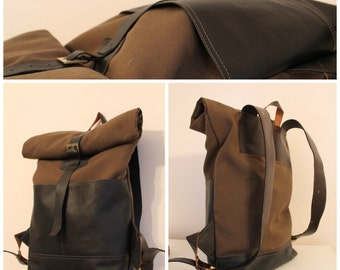 Leather backpack / rolltop